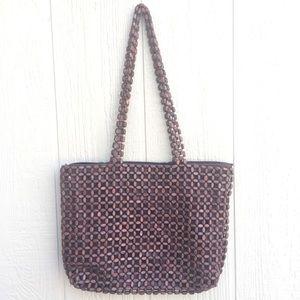 Handbags - Beautiful Vintage Unique Wood Beaded Purse!